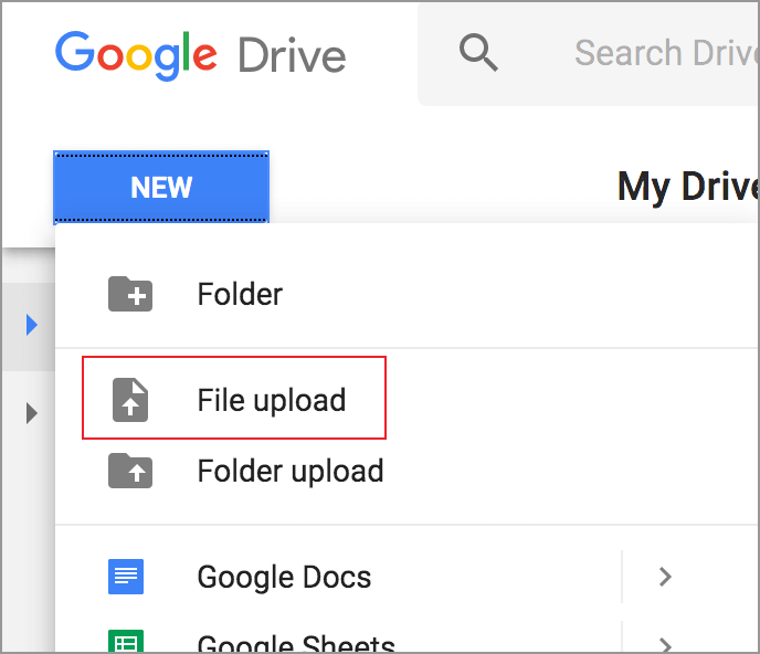 Google Docs - File Upload